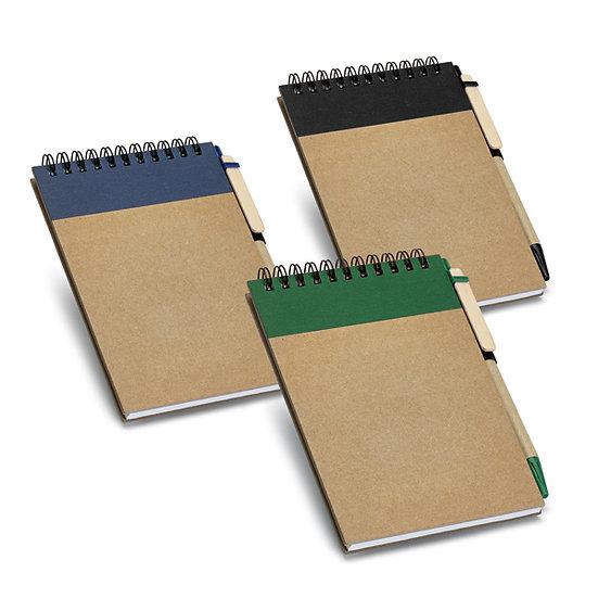 Caderno A6 com folhas não pautadas de papel reciclado