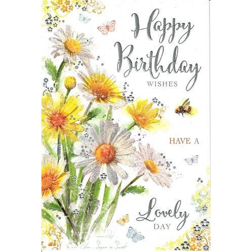 Flowers & Bee Birthday Card