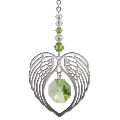 Peridot Birthstone Angel Heart Wing