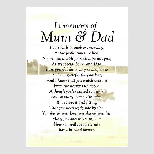 Mum & Dad Grave Card