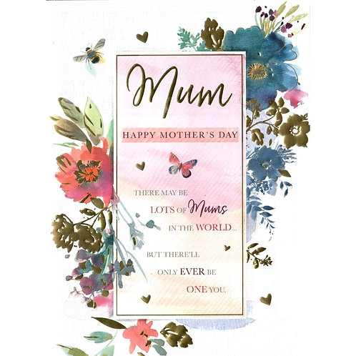 Bee & Flowers Boarder Mother's Day Card