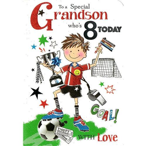 GRANDSON 8th Birthday Card