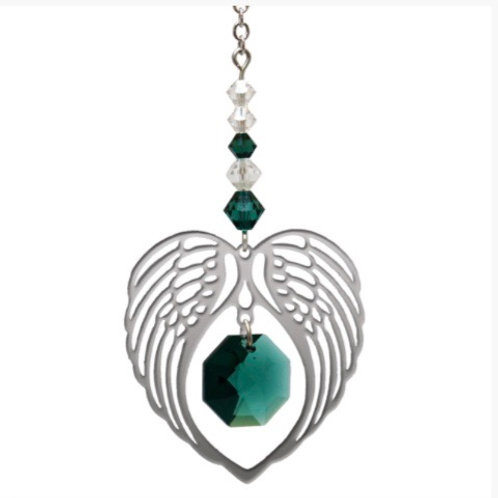 Emerald Birthstone Angel Heart Wing