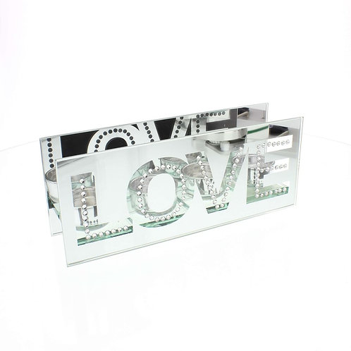 Mirrored Crystal Tealight Holder - Love