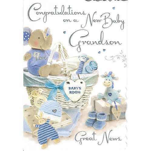 GRANDSON New Baby Card