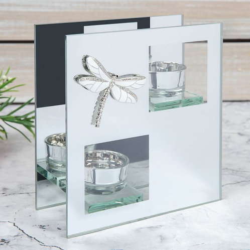 Sophia Mirror Glass Double Tealight Holder with Dragonfly