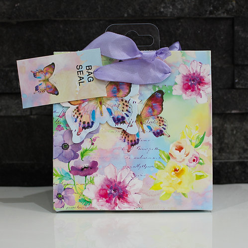 Small Glittery Butterfly Floral Gift Bag