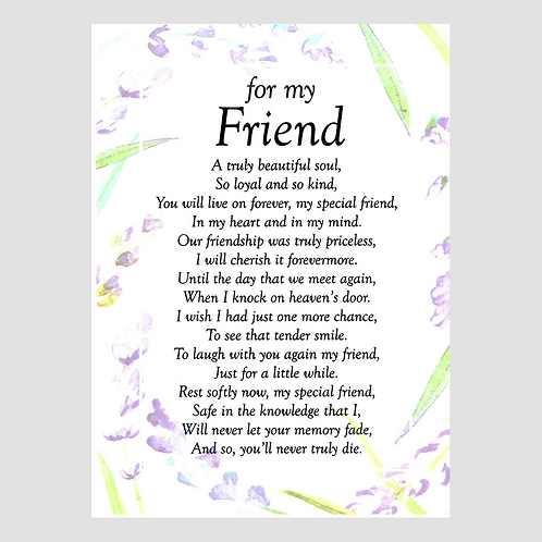 Friend Grave Card