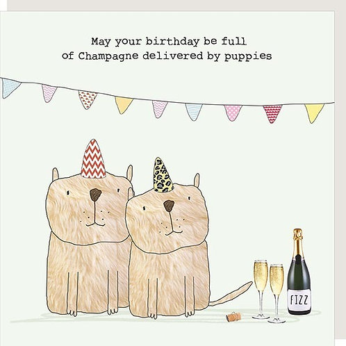 Champagne Delivered by Puppies Card