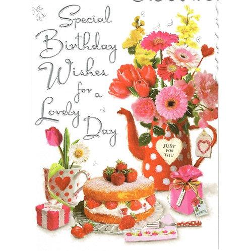 Flowers & Cake Birthday Card