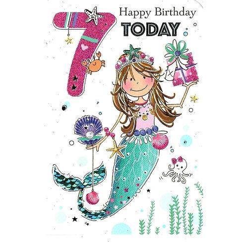 Girls 7th Birthday Card