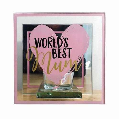 'World's Best Mum' Mirrored Tealight Holder