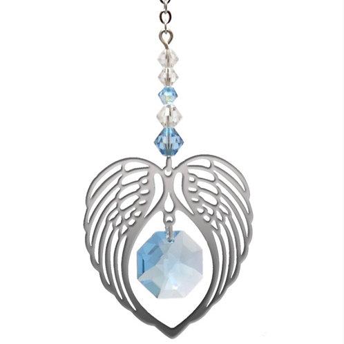 Aquamarine Birthstone Angel Wing Heart