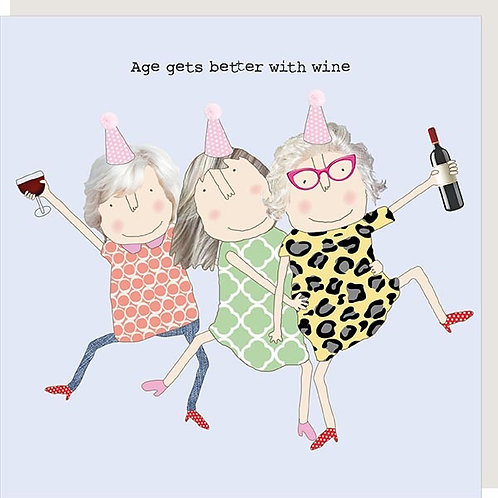 Age Gets Better With Wine Girl Card