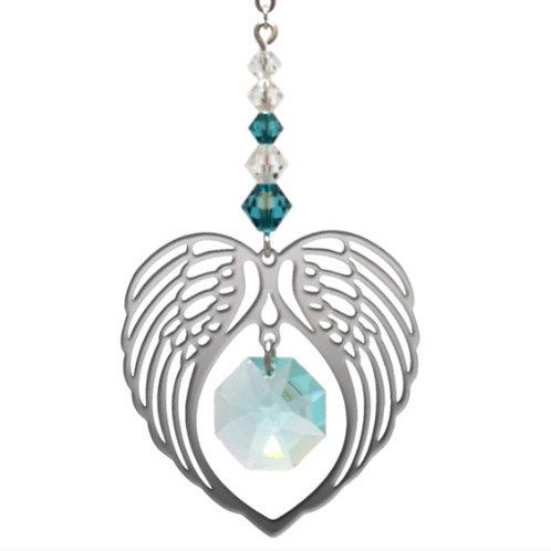 Blue Zircon Birthstone Angel Wing Heart