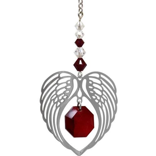 Garnet Birthstone Angel Heart Wing