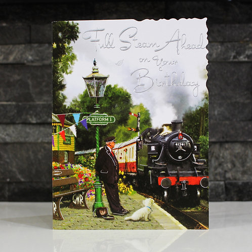 Steam Train Birthday Card