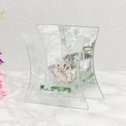 Sophia Glass & White Flower Tealight Holder