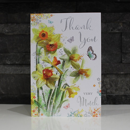 Floral Butterfly Thank You Card