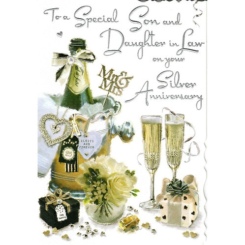 SON and DAUGHTER IN LAW Champagne Silver Anniversary Card