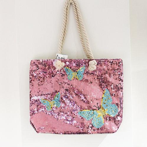 Pink Sequin Butterfly Shopper