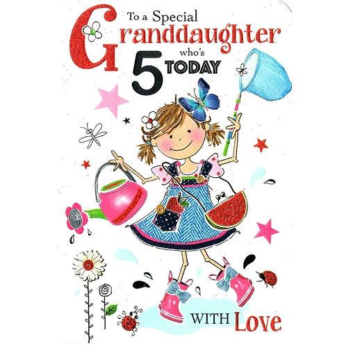 GRANDDAUGHTER 5th Birthday Card