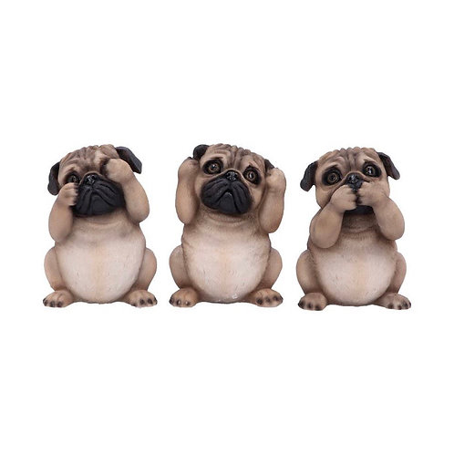 Three Wise Pugs (8.5cm)