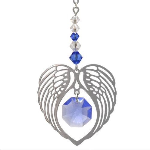 Saphire Birthstone Angel Heart Wing