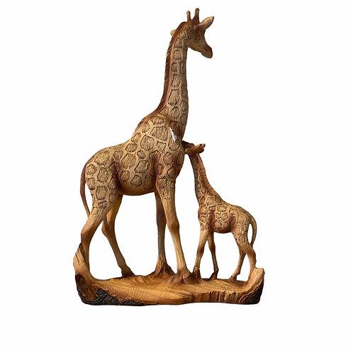 Wood Effect Giraffe and Calf