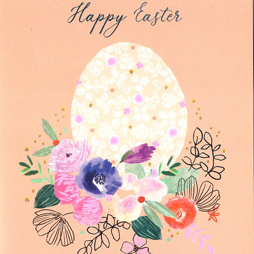 Egg on Flower Bed Easter Card