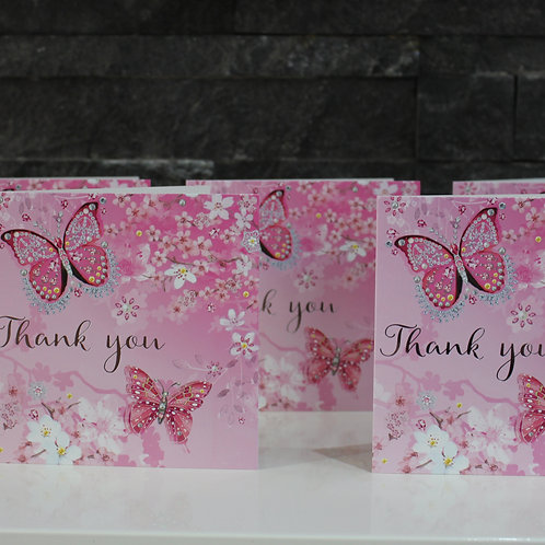 Pack of 5 Pink Thank You Cards