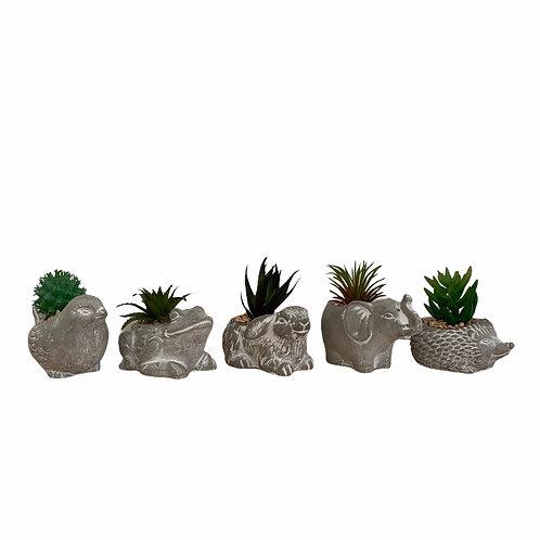 Mini Planter With Faux Cactus