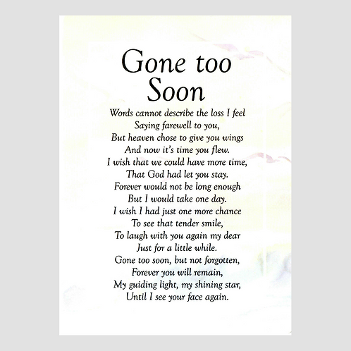 Gone too Soon Grave Card