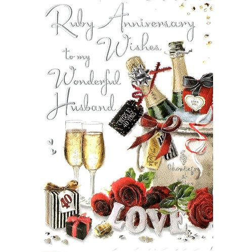 HUSBAND Ruby Anniversary Card