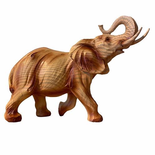 Wood Effect Standing Elephant