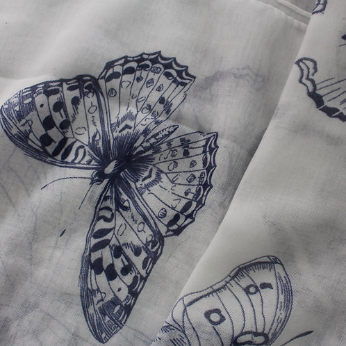 White & Navy Butterfly Scarf