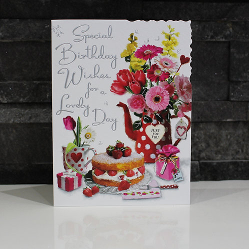 Cake and Flowers Birthday Card