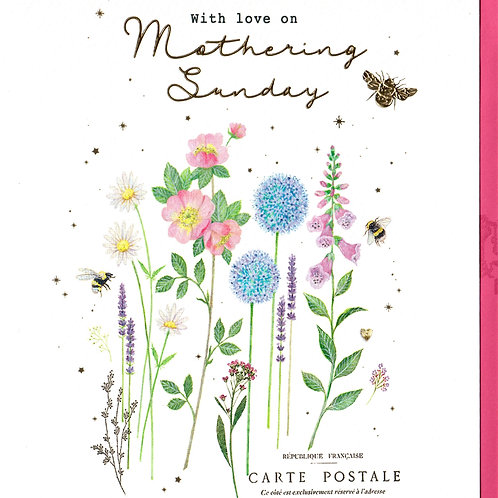 Bees and Flowers Mothering Sunday Card