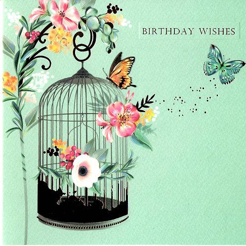 Bird Cage Birthday Card