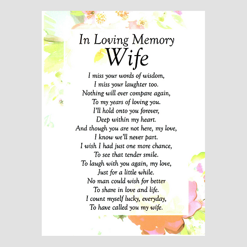 Wife Grave Card