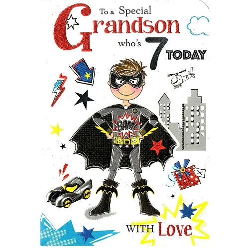 GRANDSON 7th Birthday Card