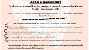 Appel a candidature siège CGT la Halle