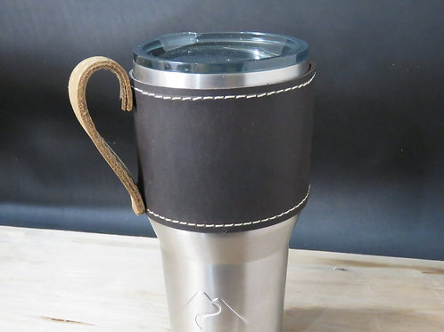 30oz Leather Beverage Holder, Sleeve with Handle