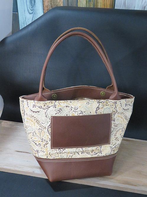 Handmade Brown Leather and Cloth Shoulder Bag