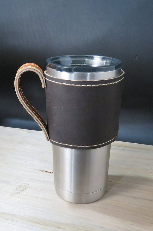 20oz Leather Beverage Holder, Sleeve with Handle