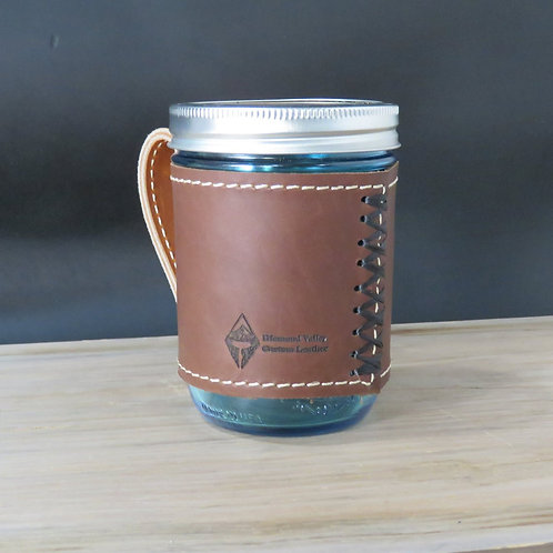 Leather 16 oz. Mason Jar Sleeve with Handle