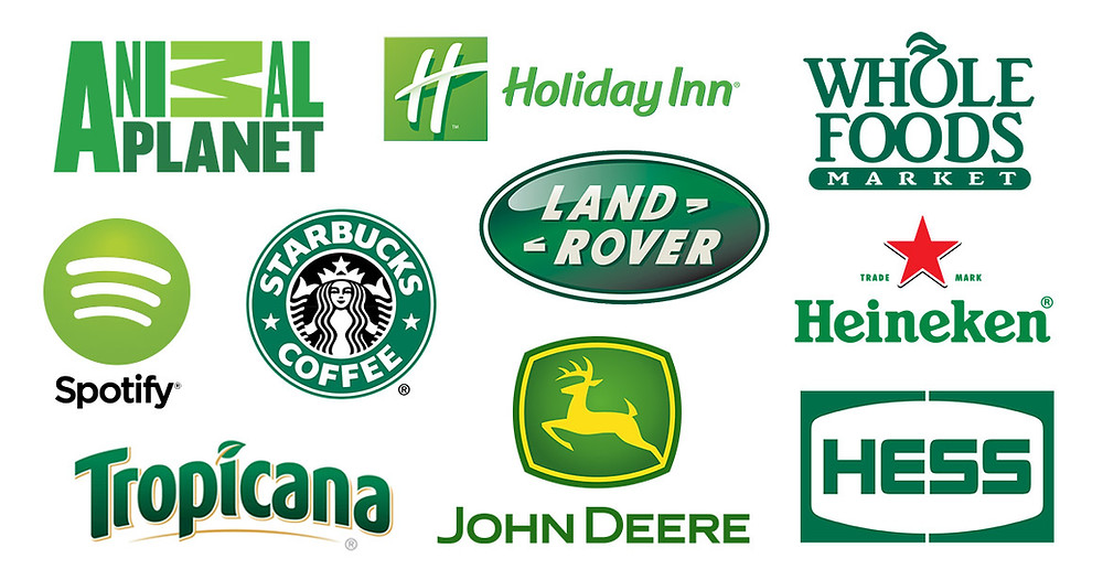 a selection of green logos featuring Starbucks, Tropicana, Land Rover, Whole Foods Market, Spotify that shows how companies use green in their logos to represent health and nature