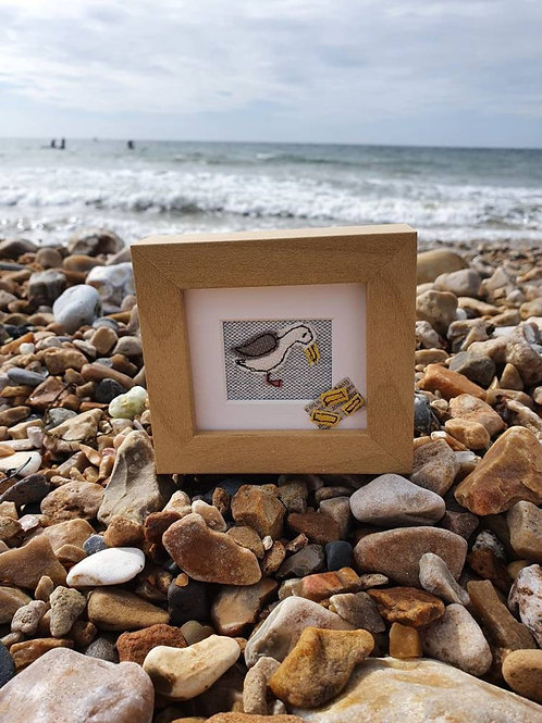 Mini Seagull Original Embroidered Picture With Chips (Made to Order)