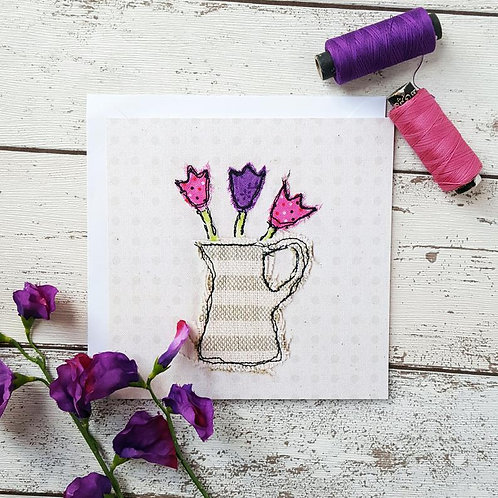 Pitcher of Tulips Greetings Card
