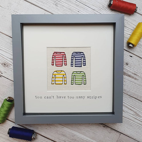 'You can't have too many stripes' Framed original stitch